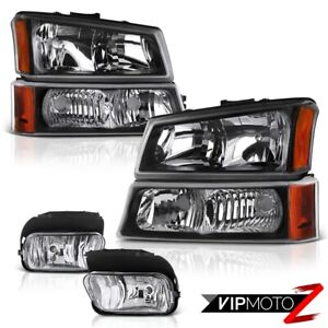 2003 2006 Chevy Silverado 1500 2500 3500 Black Corner Bumper Headlights Foglamps