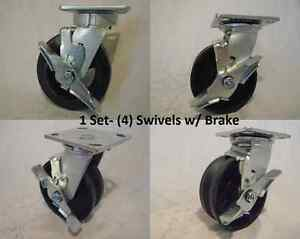 5 X 2 Swivel Caster With Brake V groove 7 8 Iron Steel Wheel 900lbs Each 4