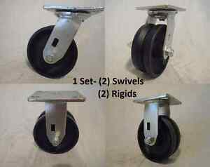 5 X 2 Swivel Caster V groove 7 8 Iron Steel Wheel 2 And 2 Rigid 900lbs Ea