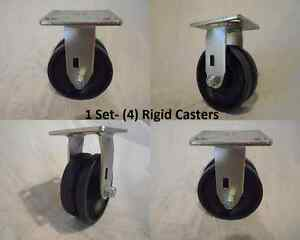 5 X 2 Rigid Caster V groove 7 8 Iron Steel Wheel 900lbs Each 4