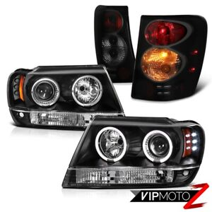 For 99 04 Jeep Grand Cherokee Wj Brake Signal Tail Lamp Black Led Halo Headlight