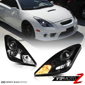 For 00 05 Toyota Celica Gt Gts Jdm Crystal Black Front Headlights Lamps Assembly