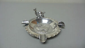 Unusual Vintage Peruvian 900 Silver Ashtray With Llama And Coin Holders