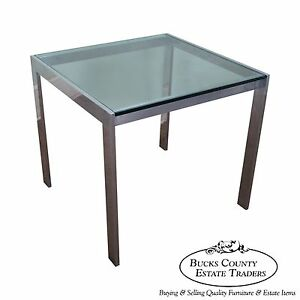 Mid Century Modern Aluminum Square Glass Top Dining Table