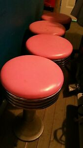 Vintage Art Deco 4 Pink Chrome Original Soda Fountain Diner Bar Swival Stools