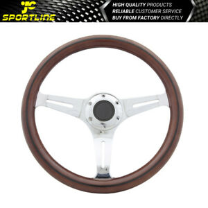 Fits Universal 350mm Steering Wheel Black Trim Classic Wood Grain Sport Chrome