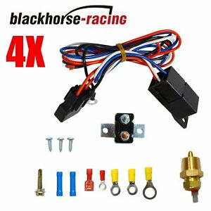 3 8 Thread Electric Radiator Engine Fan Thermostat Temperature Switch Relay Kit