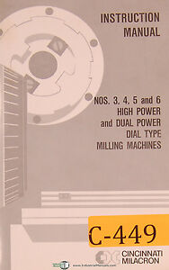 Cincinnati Milacron 3 4 5 And 6 Milling Machine Instructions Manual 1972