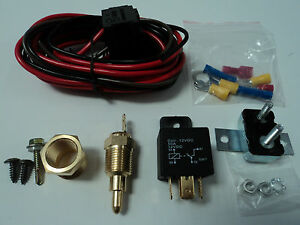 Electric Fan Wire Harness Kit Complete Thermostat 50 Amp Relay 185 Wiring 350