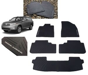 2008 2013 Highlander Floor Mats All Weather Mats 5pc Set W 3rd Row Mat Toyota