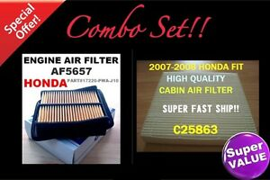 Combo Set Engine Cabin Air Filter For Honda Fit 07 08 Great Fit Us Seller