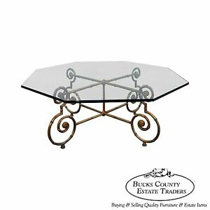Gilt Metal Faux Bamboo Glass Top Coffee Table