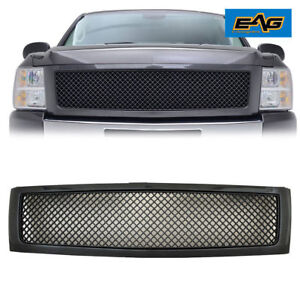 07 13 Chevy Silverado 1500 Mesh Grille Grill Abs Carbon Fiber Look Replacement