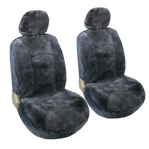 Car Seat Covers 2 Low Back Sheepskin Front Seat Protector Charcoal Gray