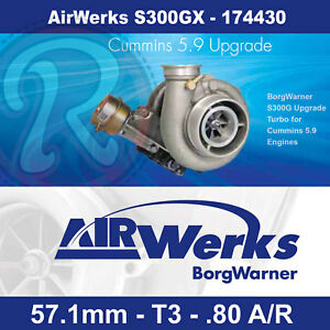 Borg Warner Airwerks S300gx Turbo 57 1mm t3 twin Scroll 0 80 A r Cummins Upgrade