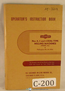 Cincinnati 2 3 And 4 Dial Type Mill 136 Page Operators Manual