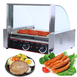 30 Hotdog Roller Commercial Hot Dog 11 Roller Grill Cooker Machine W cover