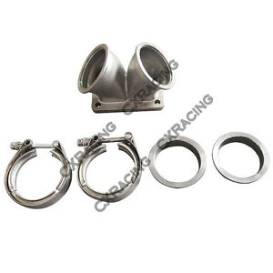 3 Vband Inlet To T6 Dual Turbo Elbow Twin Scroll Divided Adapter Flange