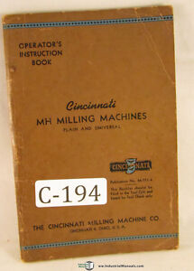 Cincinnati 2mh And 2 L Type Plain Universal Mill 94 Page Operations Manual