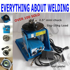 10kg Rotary Welding Positioner Turntable Table With Mini 2 5 3 Jaw Lathe Chuck