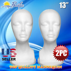 13 Styrofoam Foam Mannequin Manikin Head Display Wig Hat Glasses 2pc