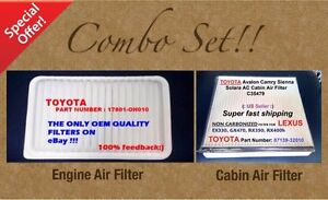 Engine Filter Cabin Air Filter Combo Set For Camry Sienna Solara Oem Quality
