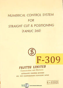 Fujitsu Cnc Control Straight Cut Positioning Fanuc 260 Programming Manual 1966
