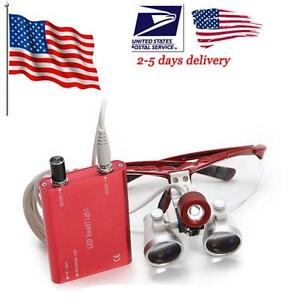 Usa Sell Dental Surgical Binocular Loupes Magnifier Zoom led Head Light Lamp Aa