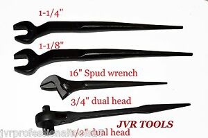 16 Adjustable Spud Wrench Dual Spud Ratchet 2pc Iron Worker Spud Wrench New