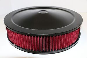 14 X 3 Round Black Washable Red Air Cleaner Assembly Flat Base Sbc 350 Bbc 454