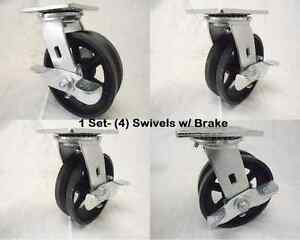 6 X 2 Swivel Caster 7 8 V groove With Brake Iron Steel Wheel 4 1000 Lbs Ea