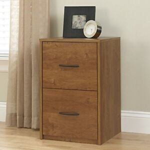 Wood File Cabinet 2 Drawer Home Office Storage Wooden Brown Furniture Filing