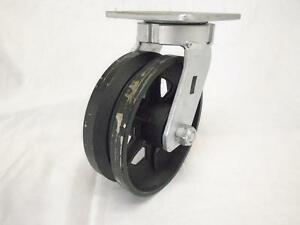 6 X 2 Swivel Caster Kingpinless 7 8 V groove Iron Steel Wheel 1000 Lbs
