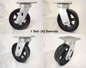 6 X 2 Swivel Caster Kingpinless 7 8 V groove Iron Steel Wheel 4 1000 Lbs Ea
