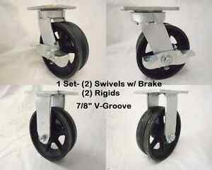 6 X 2 Swivel Caster Kinpinless V groove Iron Steel Wheel Brk Rigid 1000lb Ea