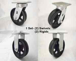 6 X 2 Swivel Caster Kingpinless 7 8 v groove Iron Steel Wheel