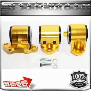 Engine Mount Kit Gold For 92 95civic 94 01 Integra 93 97 Del Sol 3 Post Only