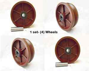 6 X 2 V groove 7 8 Ductile Steel Caster Wheel 1500 Lbs Each 4