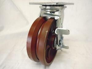 6 X 2 Swivel Caster 7 8 V groove With Brake Ductile Steel Wheel 1500 Lbs