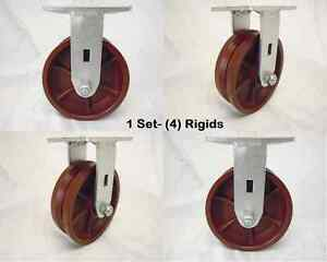 6 X 2 Rigid Caster 7 8 V groove Ductile Steel Wheel 4 1500 Lbs Each