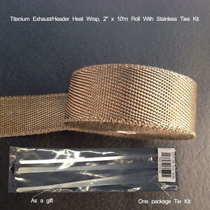 Titanium Exhaust Header Heat Wrap 2 X 10m Roll With Stainless Ties Kit