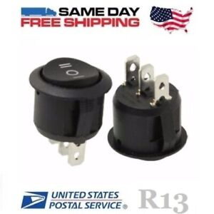 2 X Spdt Single Pole Double Throw 3 pin on off on 10a Round Rocker Switches