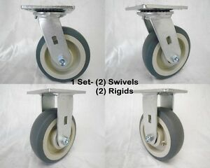 6 X 2 Swivel Caster Thermoplastic Rubber Wheel 2 rigid 2 500lbs Ea Tool Box