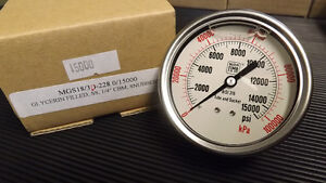 Nuova Fima Glycerin Filled Pressure Guage 0 15 000 Psi 1 4 New Stainless Steel