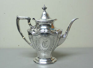Reed Barton Sterling Silver Hepplewhite Coffee Tea Pot Mono C 850 Grams
