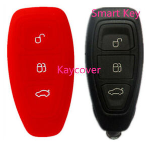 Red Silicone Non Flip Key Cover For Ford Mondeo Fiesta Focus Titanium 08 11 14