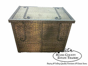 Arts Crafts Unusual Hammered Brass Lidded Chest Trunk