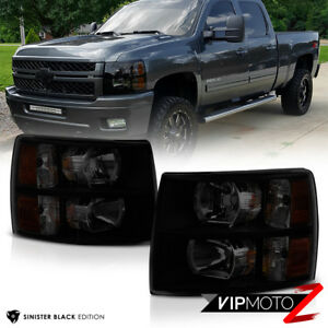 2007 2013 Chevrolet Silverado 1500 2500hd 3500hd sinister Black Headlights Set