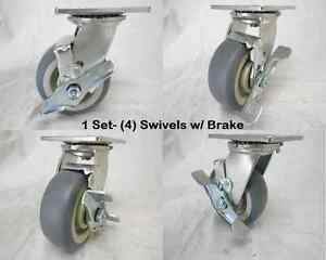 5 X 2 Swivel Caster W Brake Thermoplastic Rubber Wheel 350 Lbs Ea 4 Tool Box