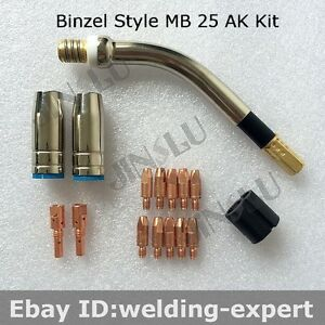 Binzel Sb25 Mb Mb25 25ak 15pcs Kit Swan Neck Nozzle Tip Holder Tip 1 0mm Mig Gun